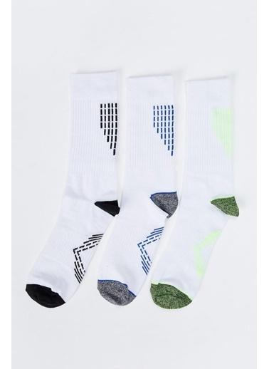 Defacto –Fit Desenli Soket Spor Çorap 3'lü Beyaz